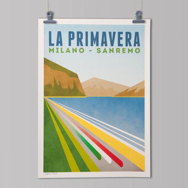 Poster Milaan San Remo Uit De Serie Monuments Een Eerbetoon Aan De Oudste En Zwaarste Eendaagse Wielerklassiekers Cycling Art Print Cycling Art Art Prints