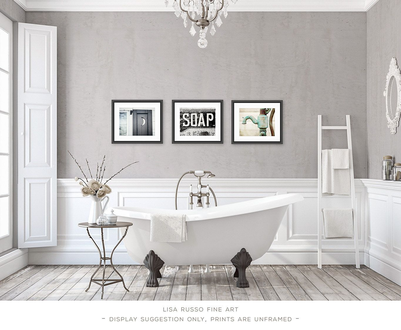 Bathroom Decor Set of 3 Photographs or Canvas by LisaRussoFineArt ...