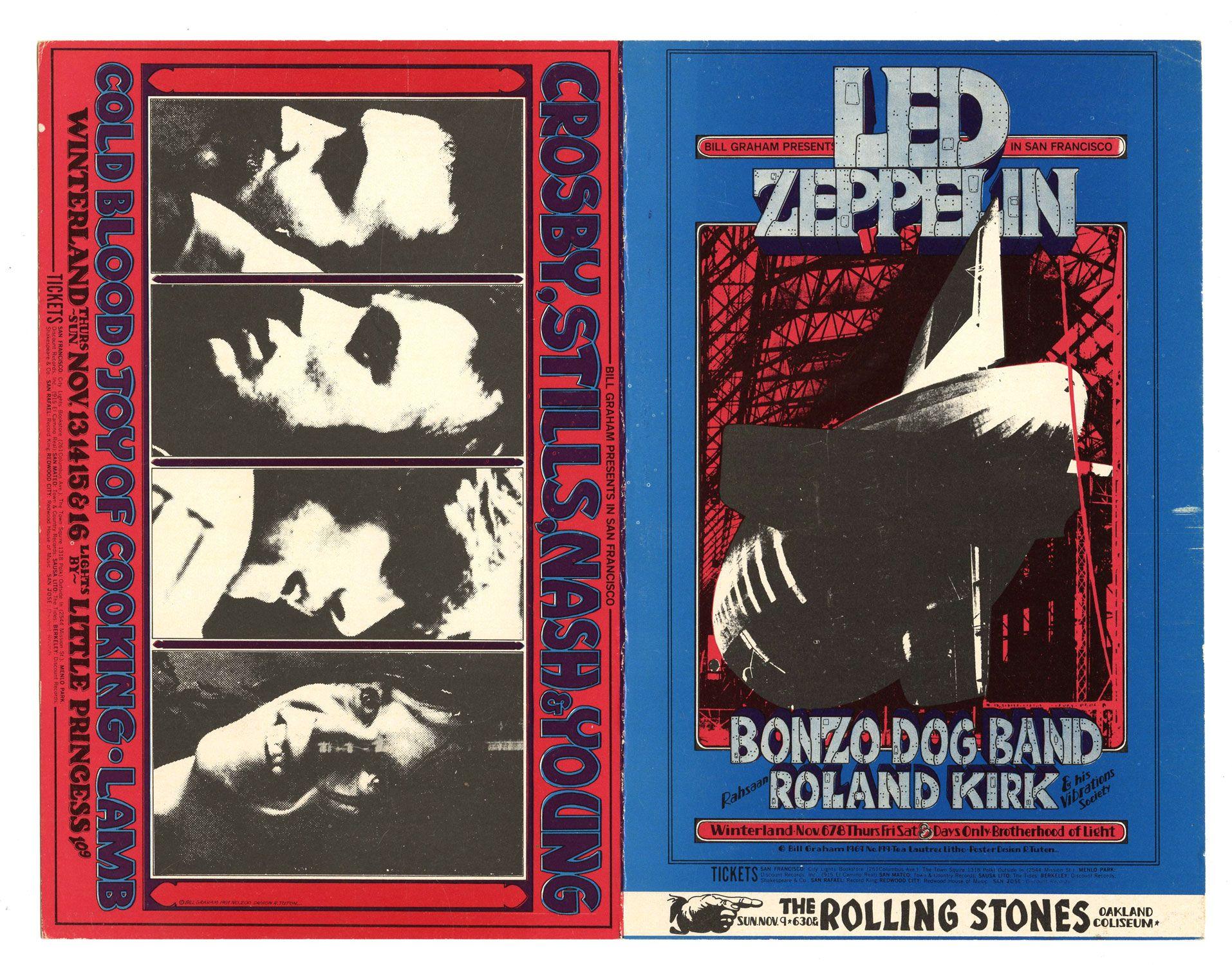 HandbiLL Led ZePPeLin RoLLing StoneS BG199 BiLL Graham FiLLmore HandbiLL