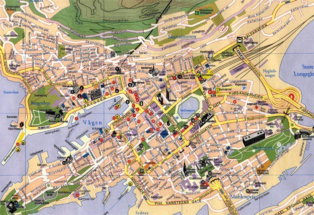 Cartina Della Norvegia Da Stampare.Mappa Di Bergen Bergen Norvegia Geografia Economica