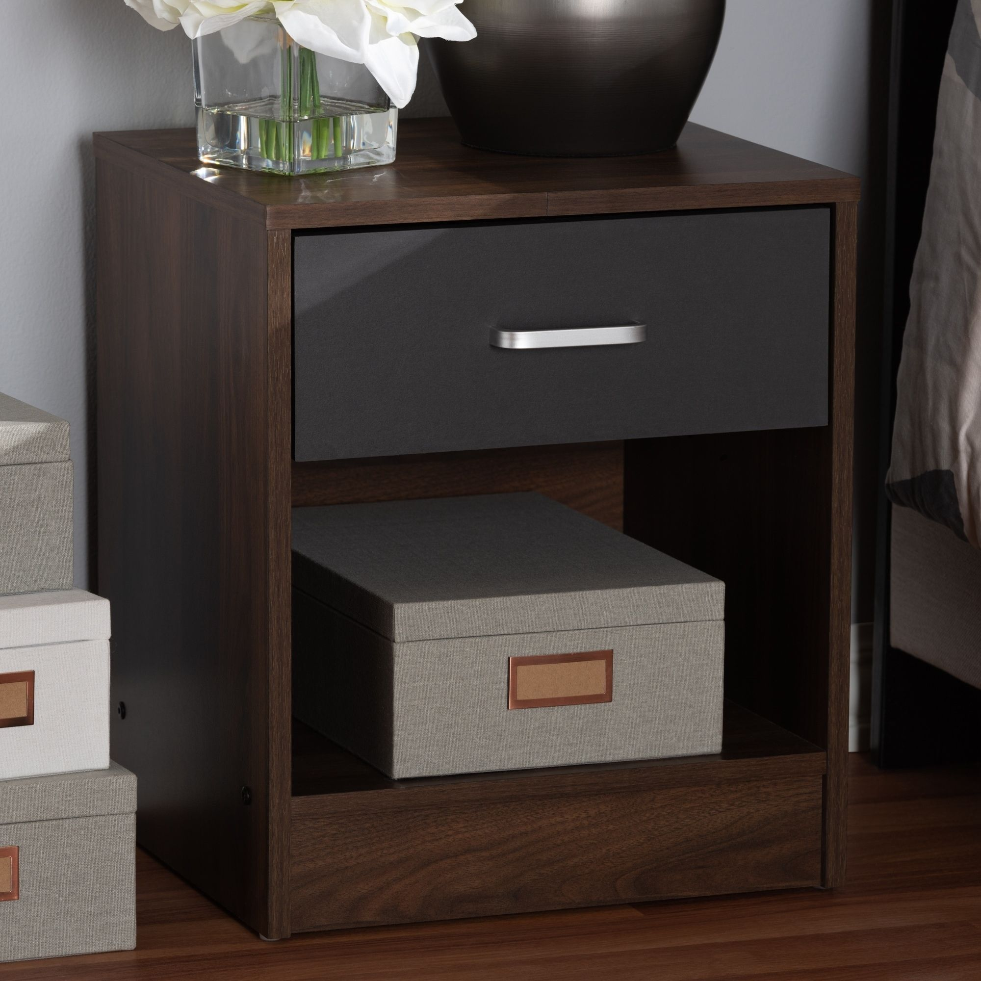 Best Contemporary 1 Drawer Brown And Grey Nightstand By Baxton 400 x 300