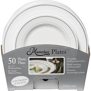 Costco Coupon available for Masterpiece White Plastic Plates 50 ct  sc 1 st  Pinterest & Costco 50 pc 25 dinner 25 dessert $22 | R.S. Christmas Dinner ...