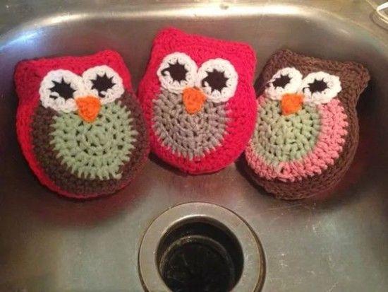 Crochet Owl Scrubbie Pattern Lots Of Cute Ideas | Töpfchen, Häkeln ...