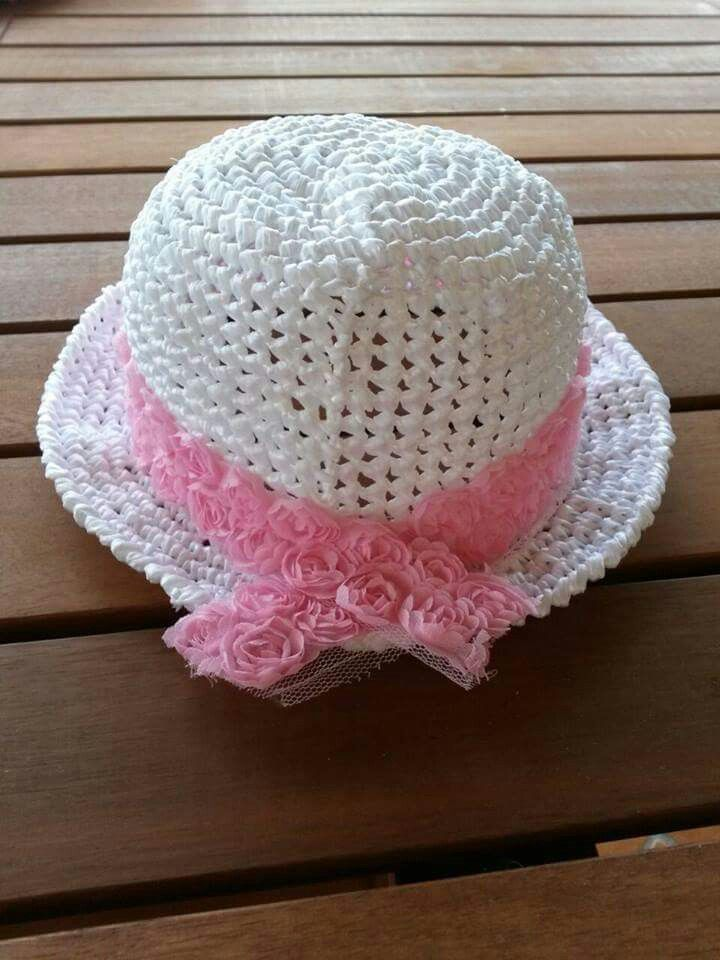 il più votato genuino brillantezza del colore gamma completa di specifiche Cappello di rafia bimba con roselline uncinetto crochet ...