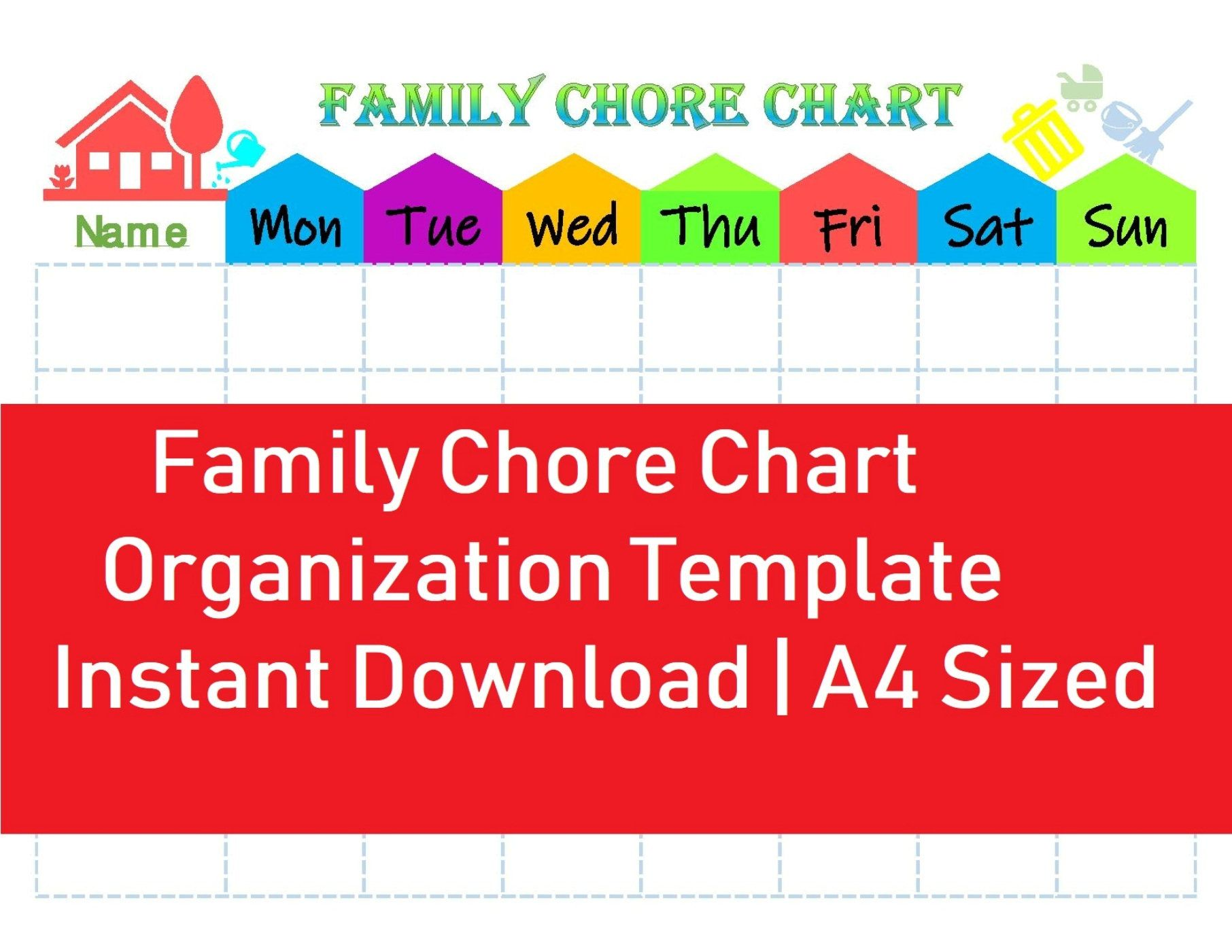 Family Chore Chart Home Organization Template Printable