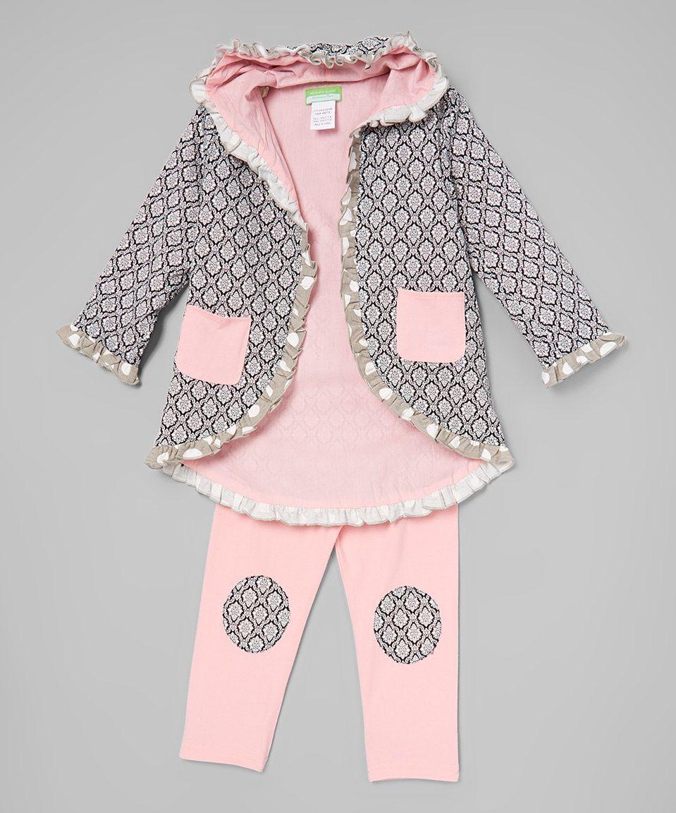 Look at this #zulilyfind! Black & Pink Quatrefoil Pocket Jacket & Pants - Toddler & Girls by Helene's Closet #zulilyfinds