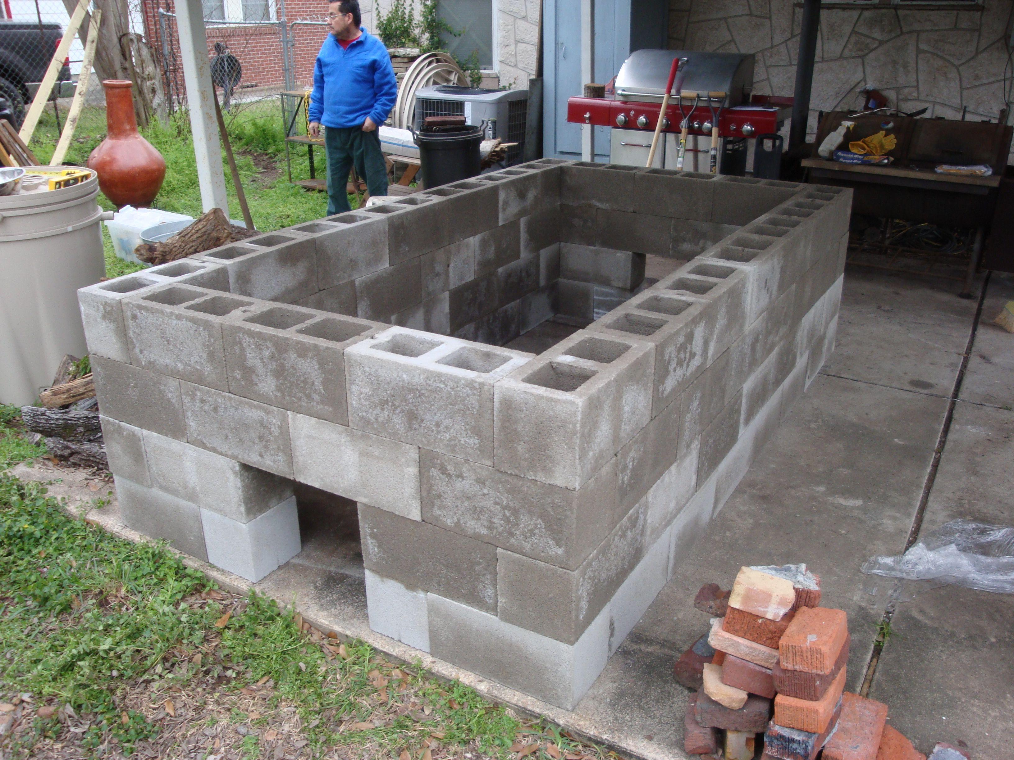 Cinderblock Pit Backyard Bbq Grill Fire Pit Grill Bbq Pig