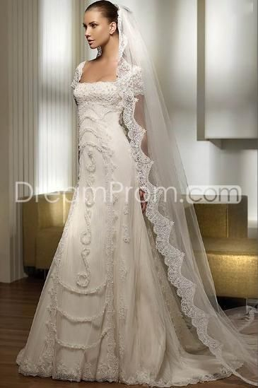 US $248.29 Free Shipping Attractive Empire Square Short-Sleeve Chapel Lace Wedding Dresses (3AD0028)