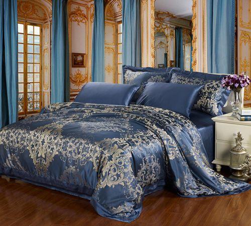 The Alina Jacquard Silk Bedding Set Ocean Blue Color 600