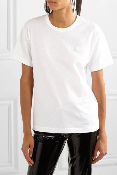 bfa0936cb3b Acne Studios - Nash Face Appliquéd Cotton-jersey T-shirt - White ...