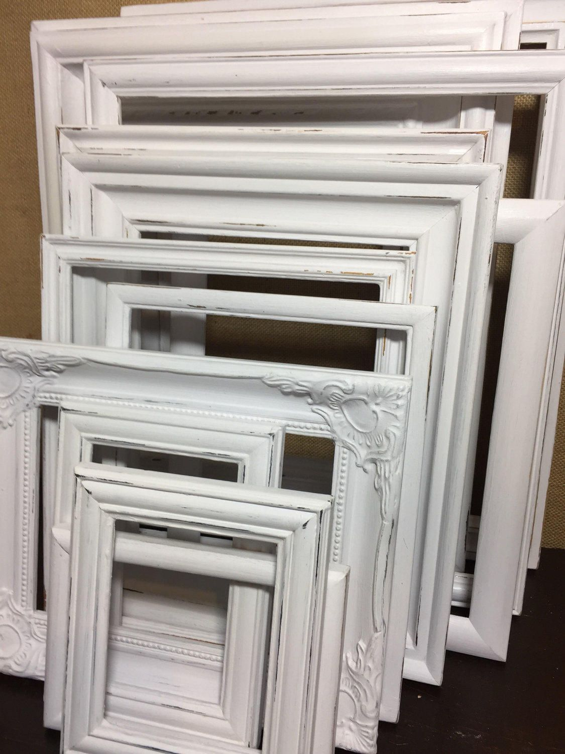 WHITE Custom Painted Ornate Frames - Set of WHITE Painted Shabby ...