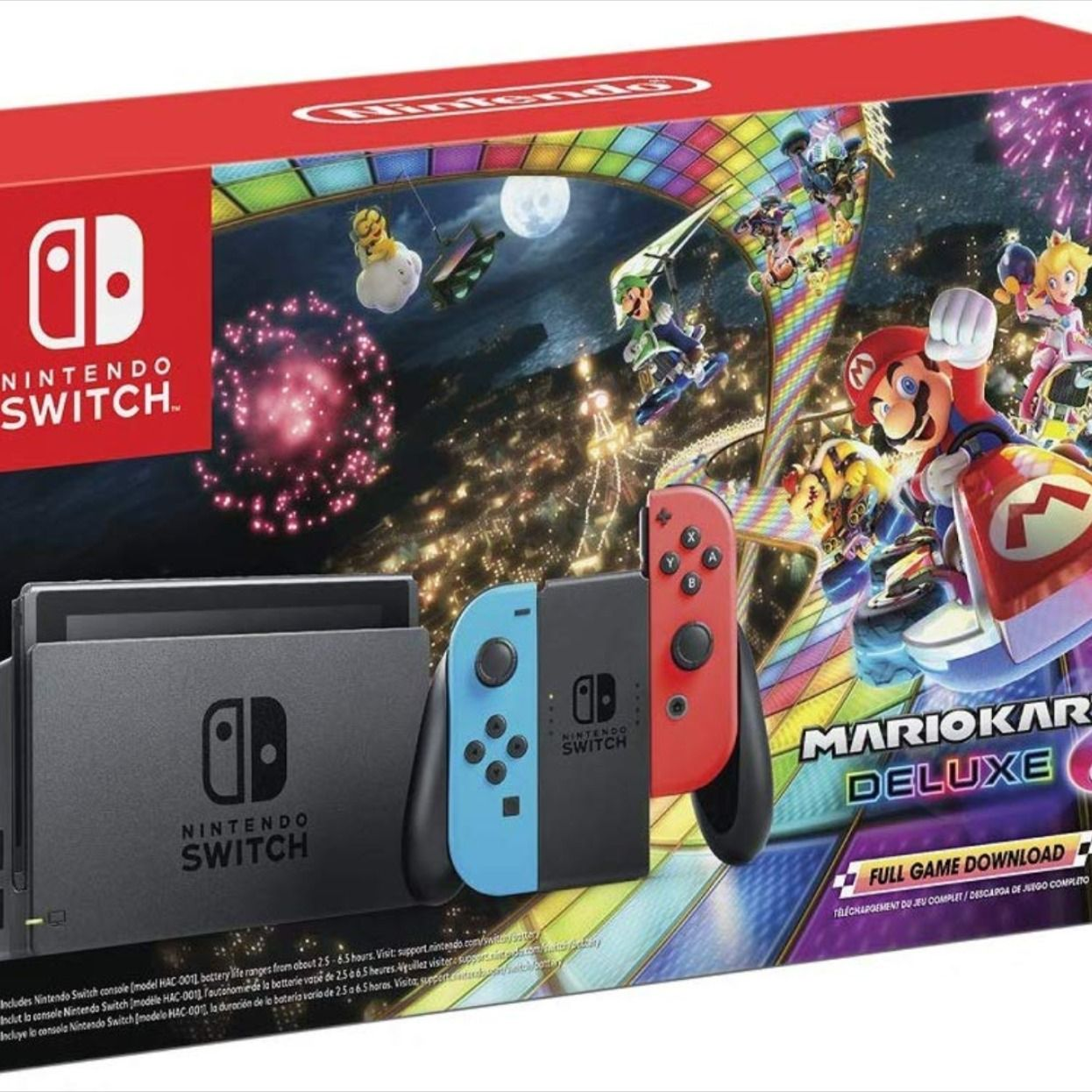 Nintendo Switch W Neon Blue Neon Red Joy Con Mario Kart 8 Deluxe Full Game Download Switch In 2020 Nintendo Switch Accessories Download Games Full Games