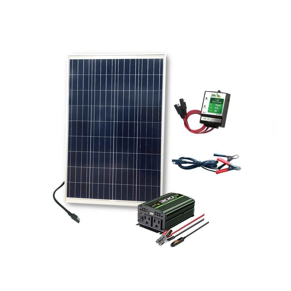 Nature Power 100 Watt Complete Solar Power Kit 1x100 Watt Solar Panel 300 Watt Power Inverter 11 Amp Charge Controller 53905 The Home Depot Solar Panels Solar Power Kits Solar Heating