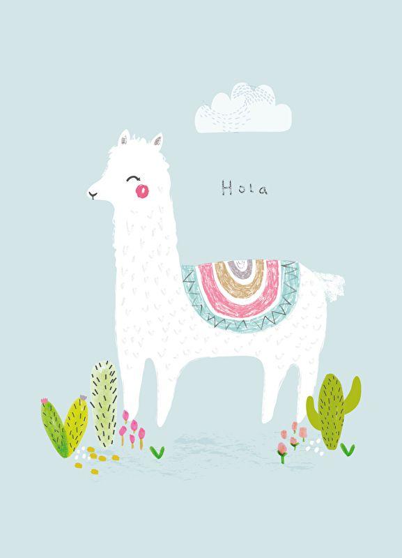 Aless Baylis A4 Poster Hola Alpaca Illustration Art