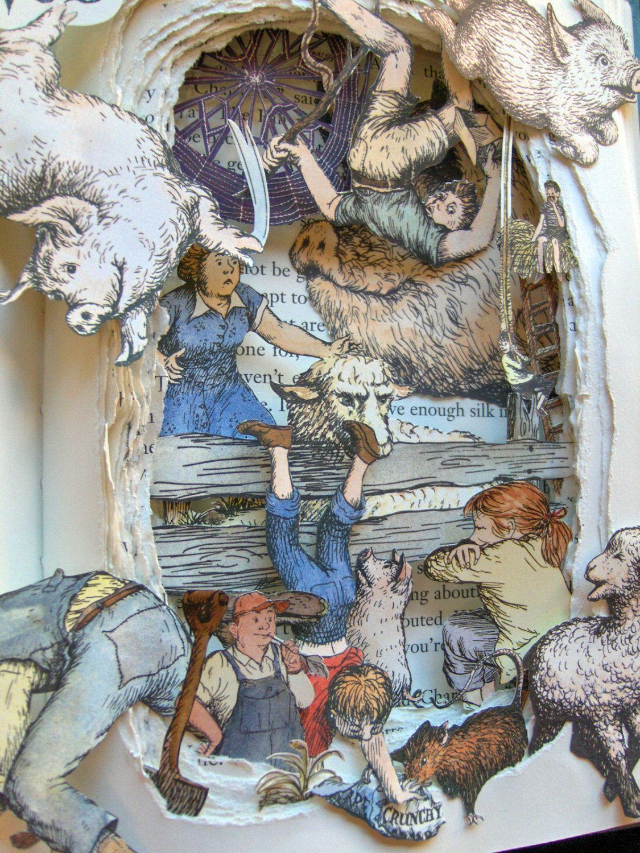 Charlotte\'s Web - Book Sculpture - Altered Book - Shadowbox FRAMED ...