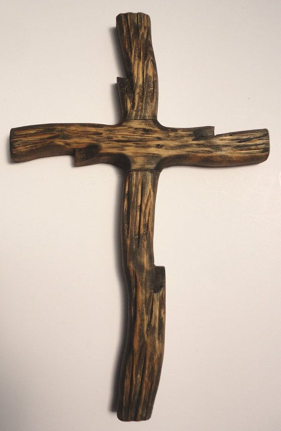 Rugged Rustic Wooden Cross Handcarved Handmade By Thefairline