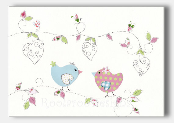 Baby Girl Nursery Art Bird Nursery Decor Kids by RoolarooDesigns, $13.50