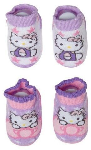 Hello Kitty Baby Girls' Hello Kitty Socks - Purple & Pink 6-12M