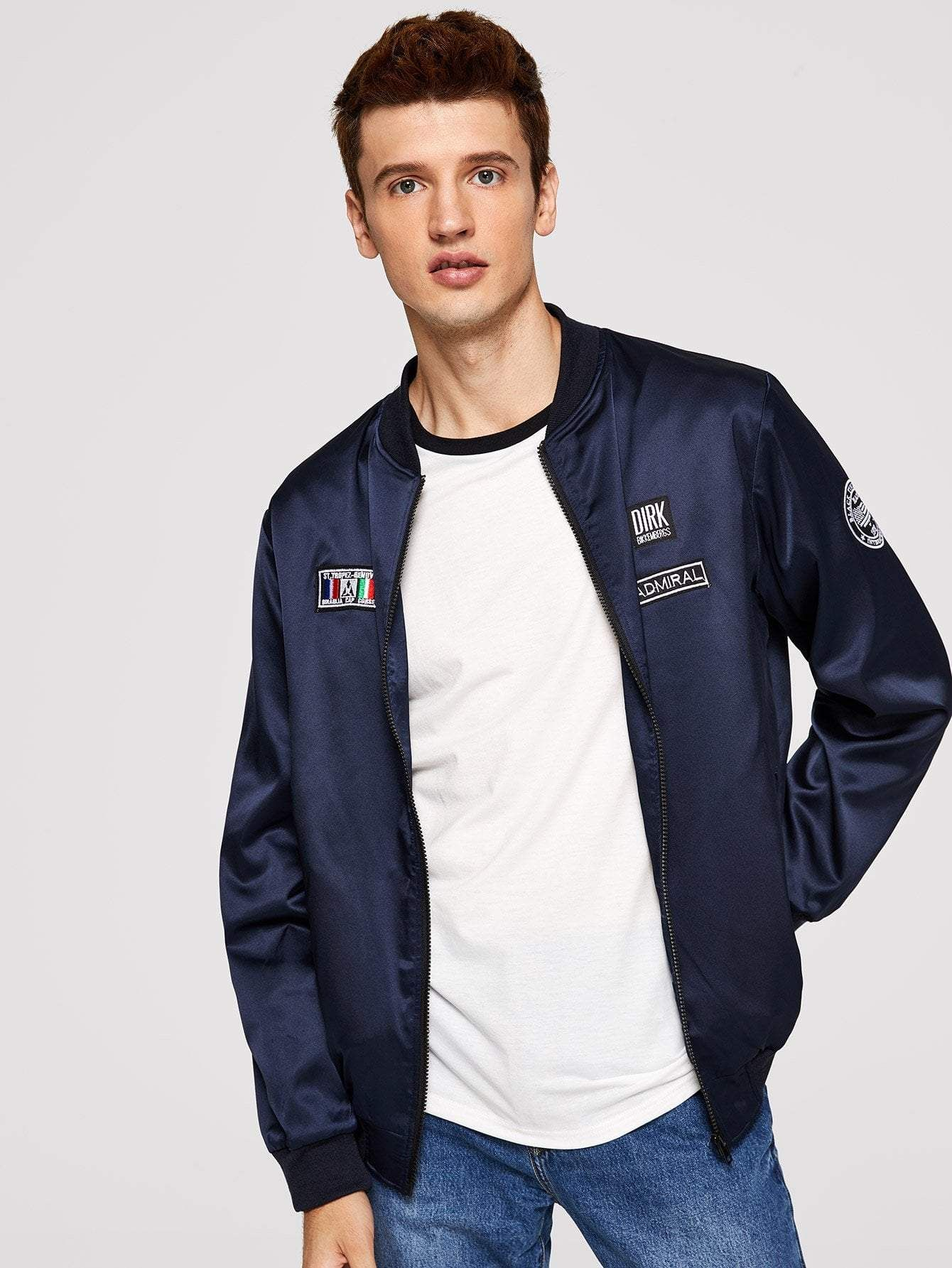 83563e6fff Men Zip Up Patched Detail Satin Bomber Jacket in 2019 | Products ...