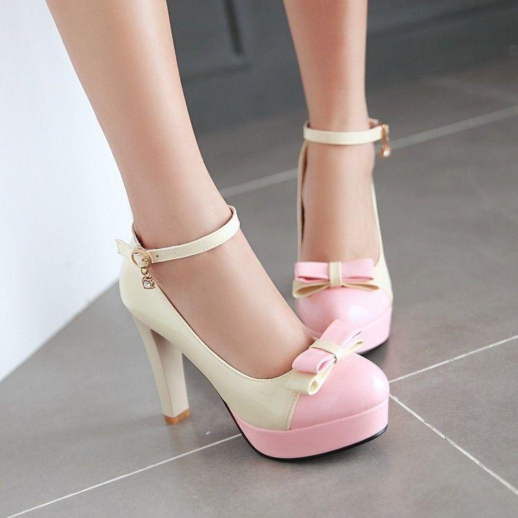 Sweet Bowknot Chunky Heel Shallow Single Shoes