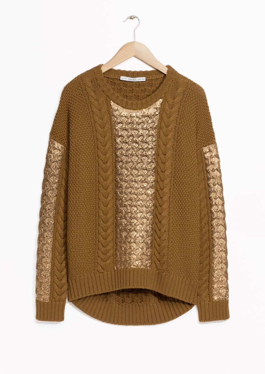 Cable Knit Sweater | Dark Yellow | Metallic, Cable knit sweaters ...