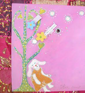 A tree on happiness. Toiveiden puu. Vaihdettavin tekstein. Akryylimaalaus lapsen huoneeseen.