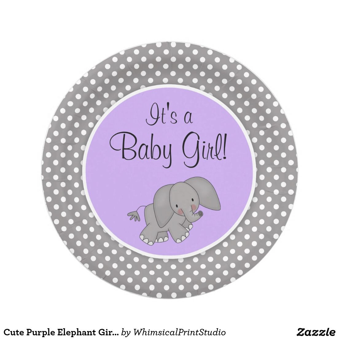 Cute Purple Elephant Girl Baby Shower Paper Plate  sc 1 st  Pinterest & Cute Purple Elephant Girl Baby Shower Paper Plate | Babyshower