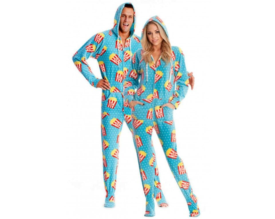 Movie Nights Adult Footed onesie Pajamas … | Adult Onesie ...