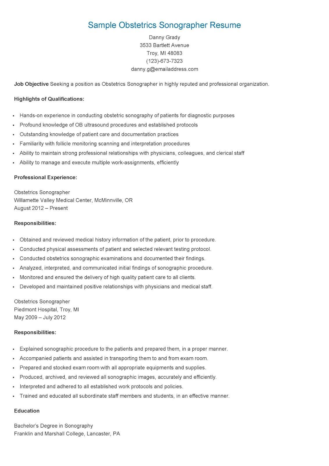 Sample Obstetrics Sonographer Resume