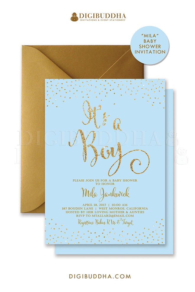 Baby blue and gold glitter sparkle baby shower invitations for a baby boy shower. Gold glitter lettering, either in ready made printed cards with envelopes or choose printable baby shower invitations instead. Gold shimmer envelopes also available, at digibuddha.com