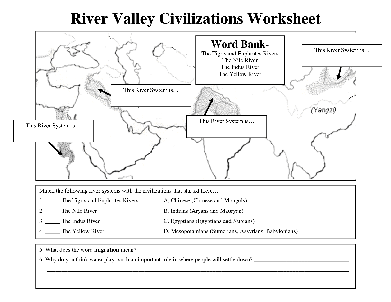 River Valley Civilizations Worksheet   River valley civilizations [ 1275 x 1650 Pixel ]