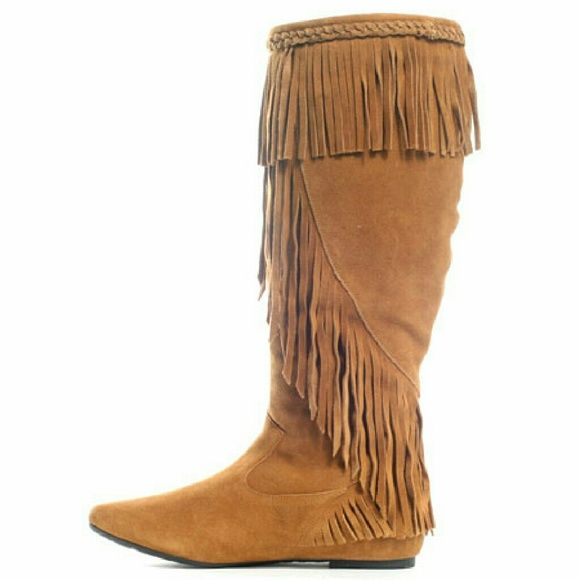 49ad96e0f Sam Edelman Utah Suede Fringe Boots Sam Edelman soft camel color suede  fringe boots. Fringes are at the top and go diagonally down to the ankle.