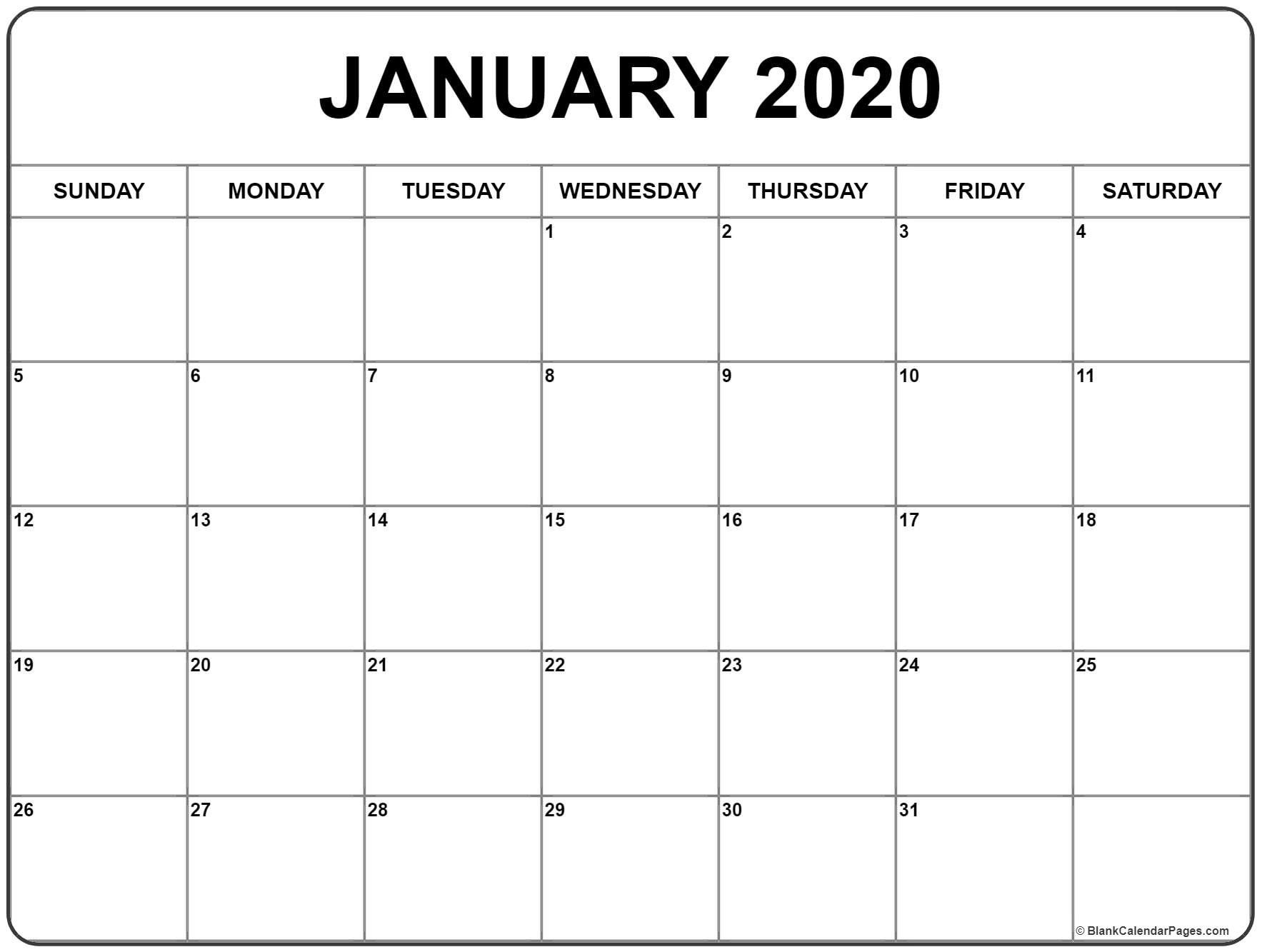 January 2020 Calendar 56 Templates Of 2020 Printable January 2020 Blank Calendar Calendar Printables Free Printable Calendar Monthly Monthly Calendar Printable