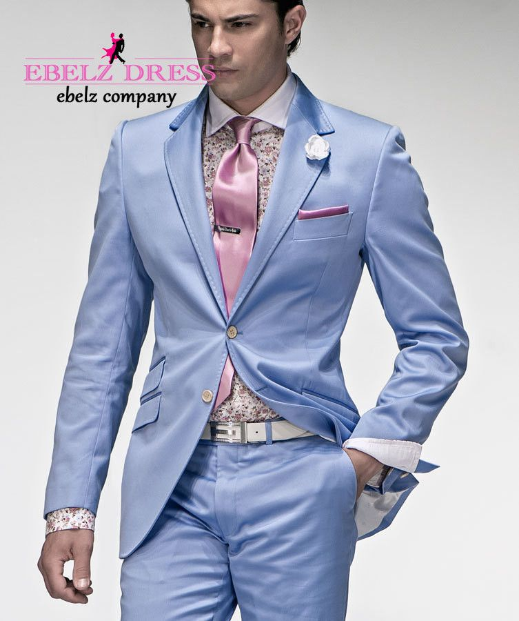 2015 Italian Wedding Groom Light Blue Tuxedos Summer Suit Men ...