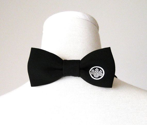 Men's bow tie made with vintage formal black KIMONO by Shantique