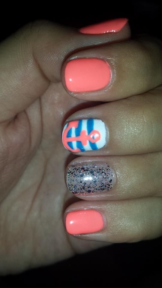 Coral Orange Gel Nails Blue Stripes And Anchor Design And Silver