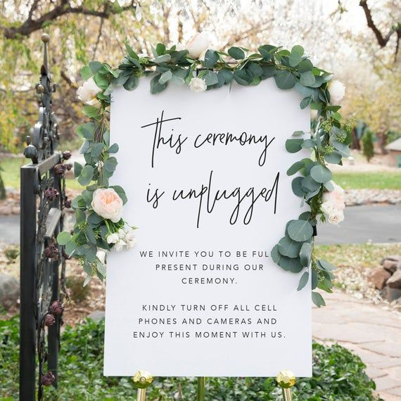 No Ceremony Just Reception: Modern Unplugged Ceremony Sign, Unplugged Wedding Sign