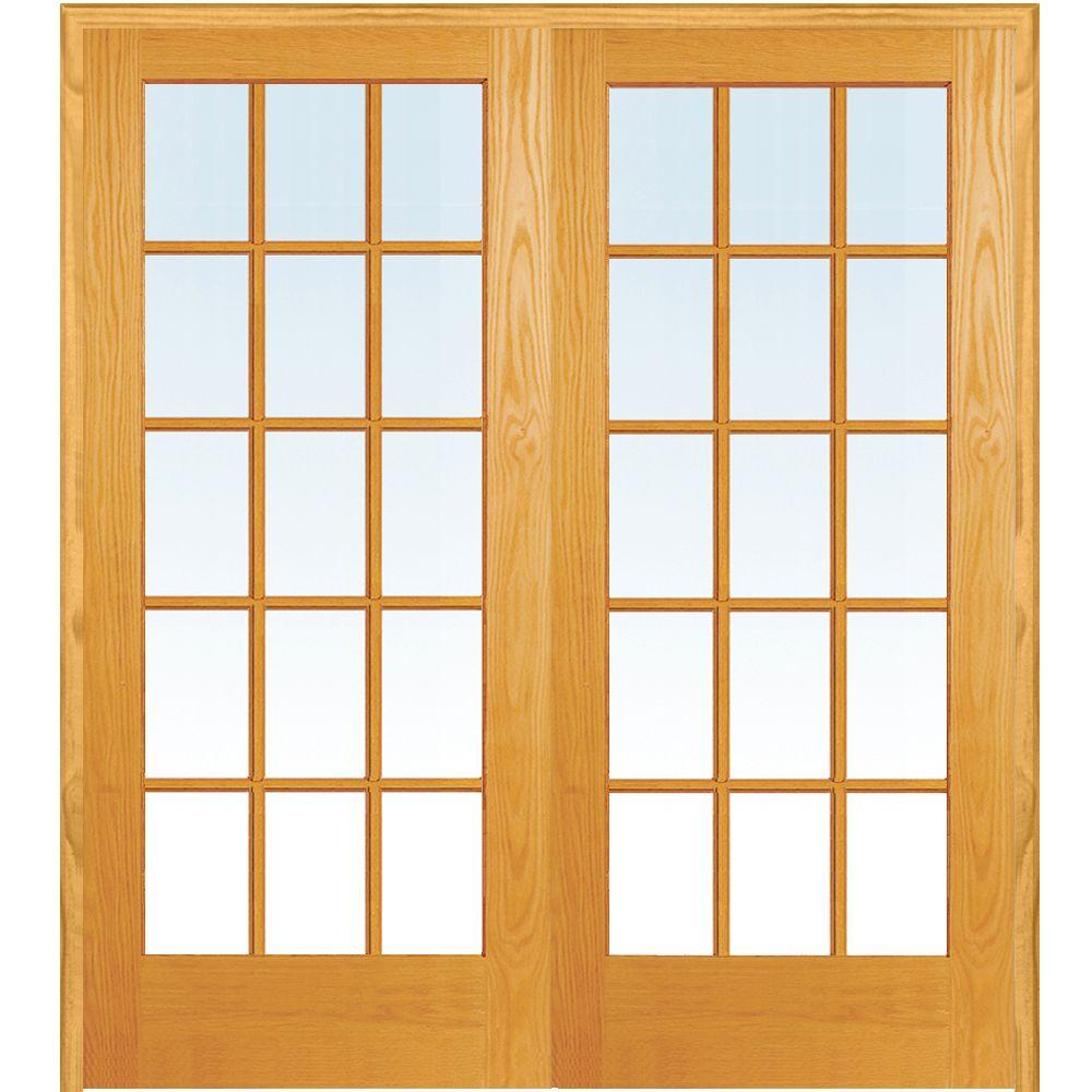 Mmi Door 72 In X 80 In Both Active Unfinished Pine Glass 15 Lite Clear True Divided Prehung Interior French Door Z019959ba French Doors Interior Prehung Interior French Doors French Doors