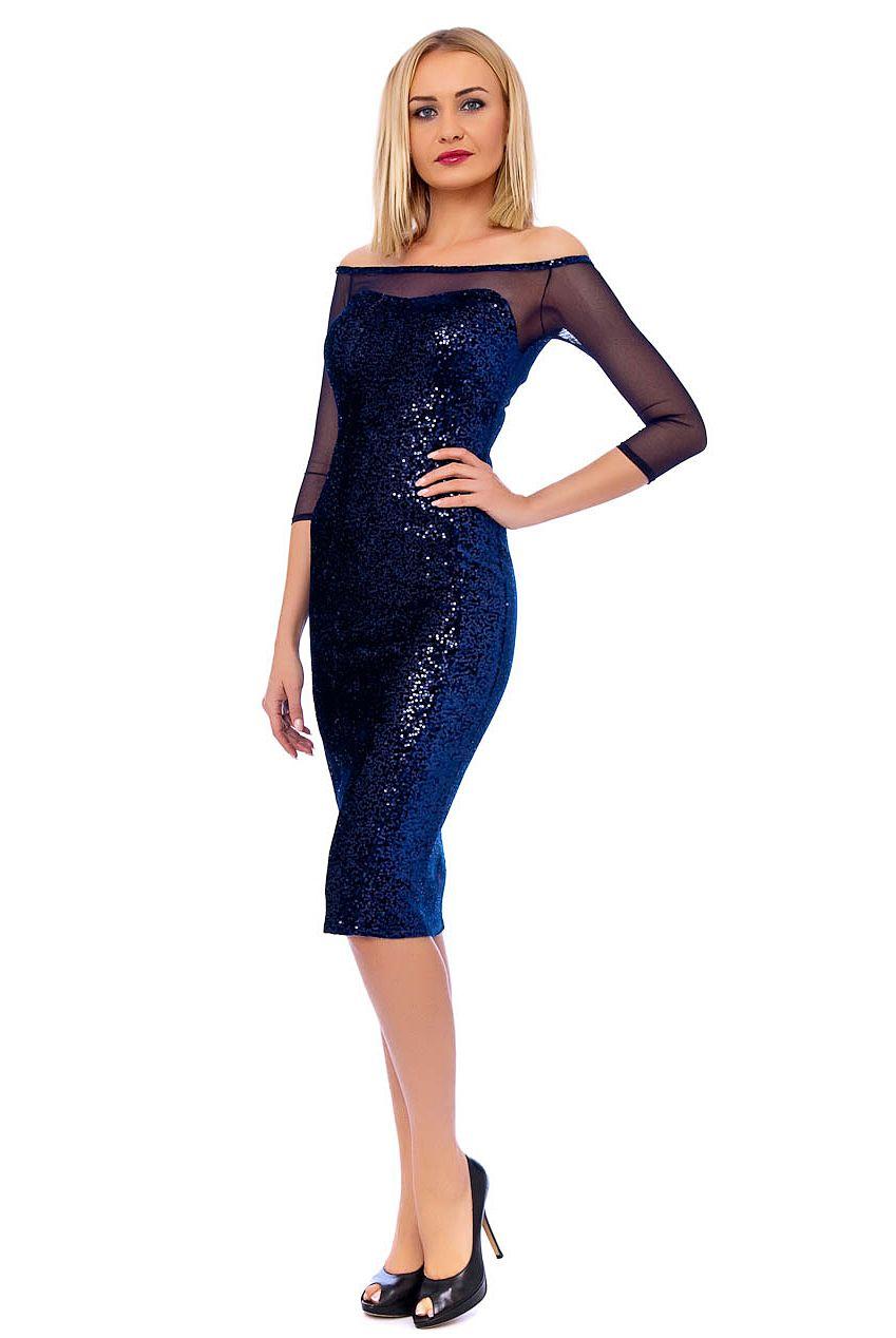 Blue Sequin Sweetheart Bardot Midi Dress | Stunning Sparkle Dress ...