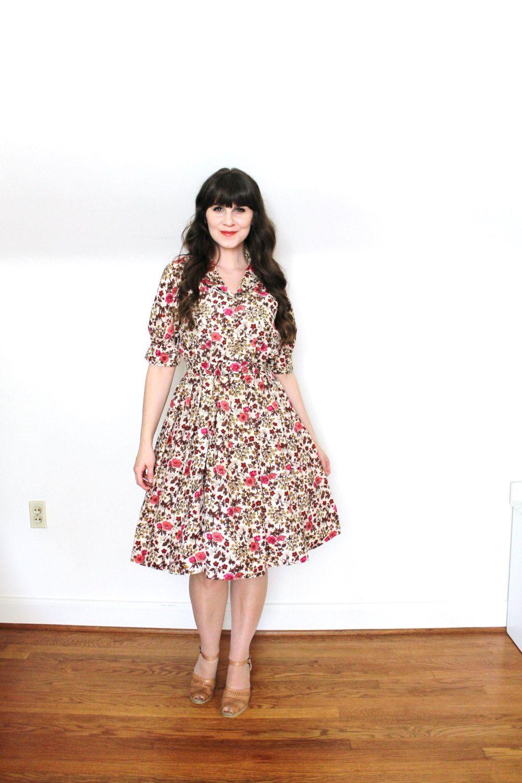 S dress s silk botanical print full skirt by coldfish