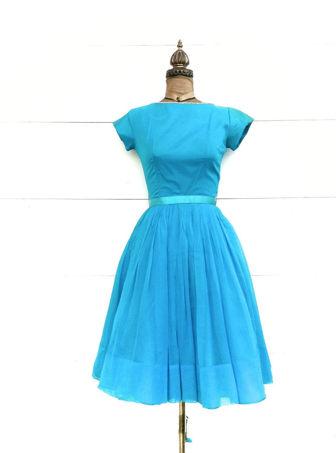 Vintage 1950s Blue Party Dress with Rhinestone Trim and Tulle ...