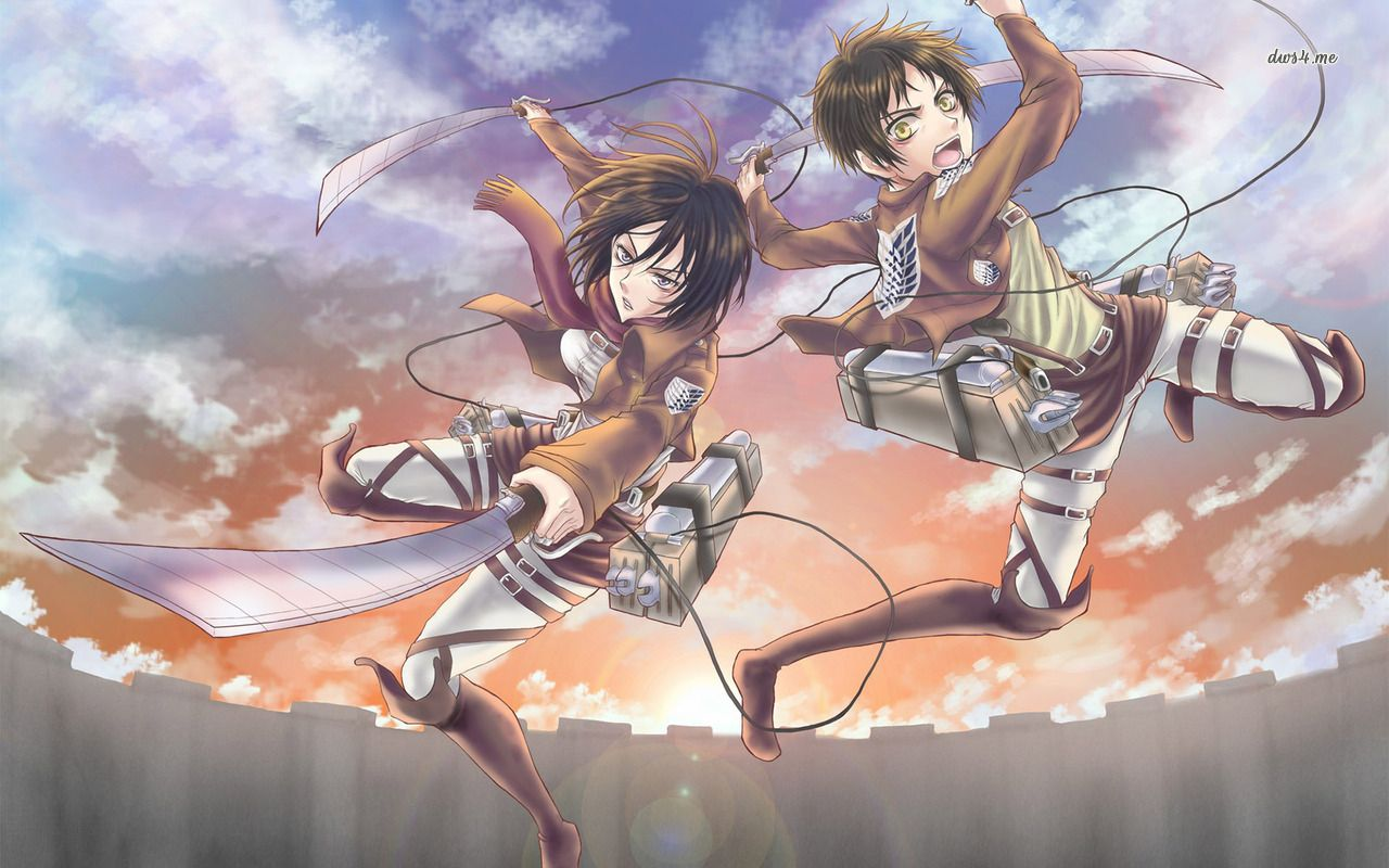 Eren Yeager And Mikasa Ackerman Attack On Titan Hd Wallpaper Attack On Titan Anime Attack On Titan Anime
