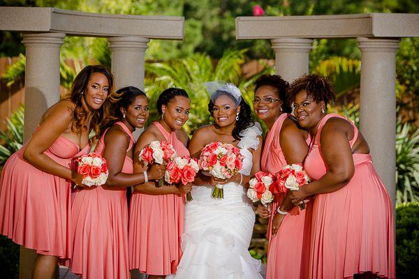 A Coral and Black Wedding In Katy, Texas - Munaluchi Bridal Magazine Photographer:http://www.danieltdavisphoto.com/ #bridesmaids #bridal #wedding