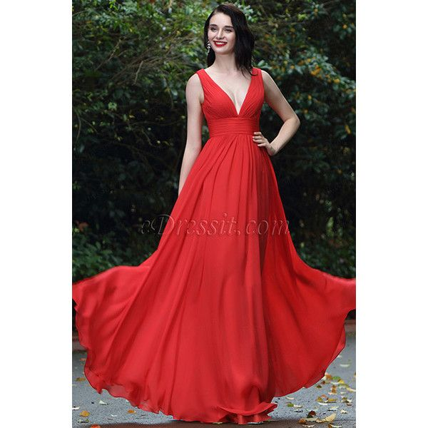 eDressit Red Sexy Chiffon Bridesmaid Dress Evening Gown (00170402) ($150) ❤ liked on Polyvore featuring dresses, gowns, bridesmaid dress, red dress, sexy dress, chiffon evening dresses, red bridesmaid dresses, chiffon bridesmaid dresses and red ball gown