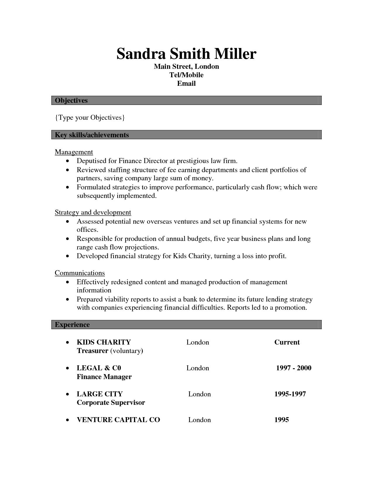 curriculum vitae key skills examples