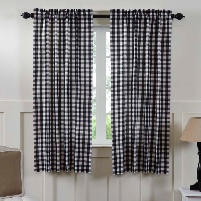 Annie Buffalo Check Black Short Panel Curtains 63 L Panel Curtains Cotton Curtains Curtains