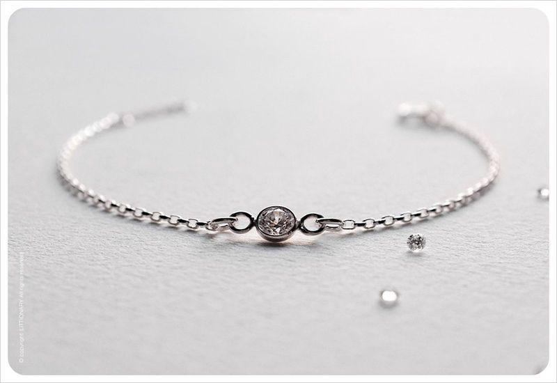 Dainty CZ Diamond Bracelet - Sterling Silver Solitaire Bracelet - Bezel Set - Gift for her - Simple Minimalist Everyday Jewelry LITTIONARY