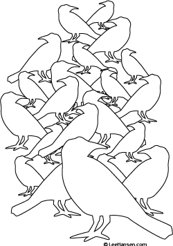 Complicated Design Bird Flock Coloring Page For Teens Or Adults