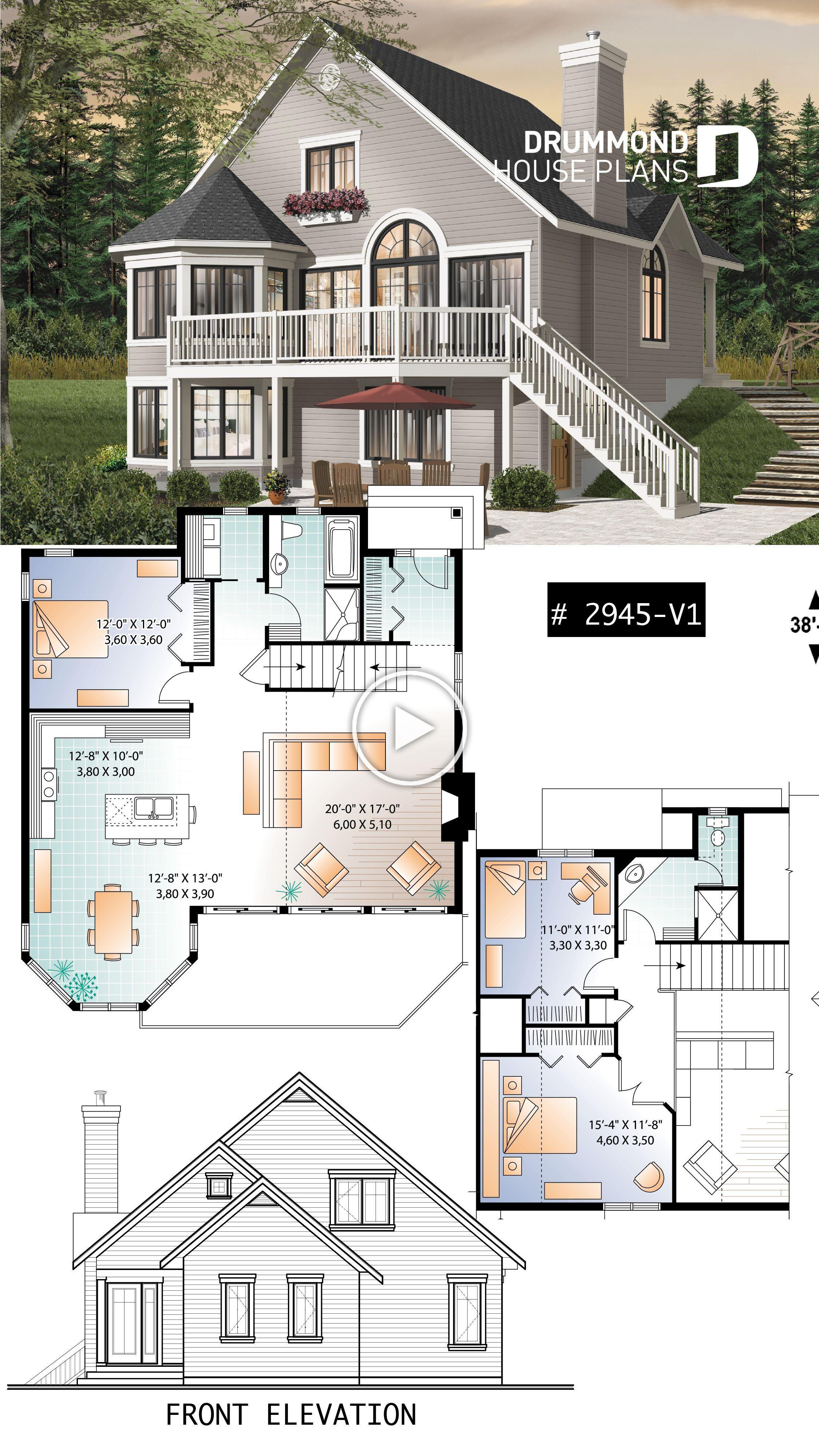 Popular 3 Bedroom Chalet With Mezzanine And Convivial Floor Plan Chalet Cottage Plan Houseplan H Sims House Plans Sims 4 House Building Sims 4 House Plans