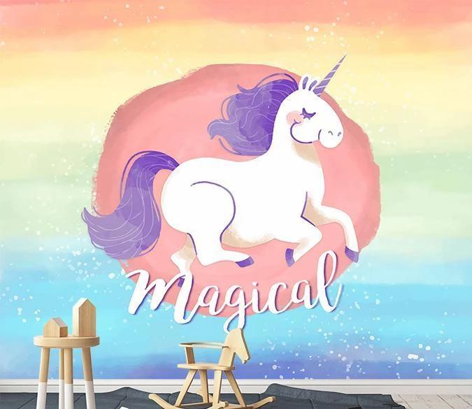 Customize Wall Mural Wallpaper Self Adhesive Wallpaper Unicorn Kids